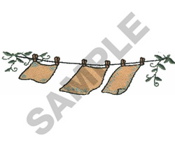CLOTHES LINE WITH VINES embroidery design