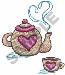 HEART TEAPOT AND CUP embroidery design