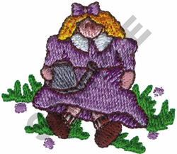 DOLL HOLDING WATERING CAN embroidery design