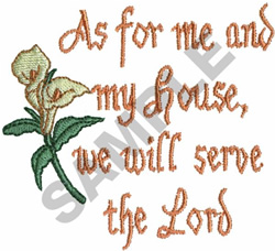 AS FOR ME AND MY HOUSE, WE WILL... embroidery design
