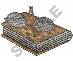 BOOK WITH READING GLASSES embroidery design