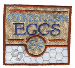 COUNTRY FRESH EGGS embroidery design