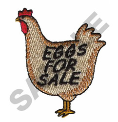 EGGS FOR SALE HEN embroidery design