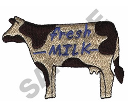'FRESH MILK' COW embroidery design