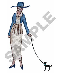 FRENCH WOMAN AND DOG embroidery design