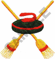 CURLING STONES & BROOMS embroidery design