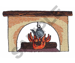 FIREPLACE AND KETTLE embroidery design