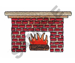 RED BRICK FIREPLACE embroidery design
