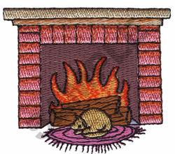 FIREPLACE AND CAT embroidery design