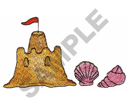 SAND CASTLE AND SHELLS embroidery design