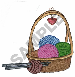 BASKET OF YARN embroidery design