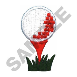 GOLF BALL ON TEE embroidery design