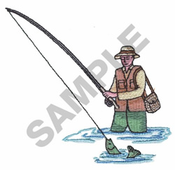 MAN FISHING embroidery design