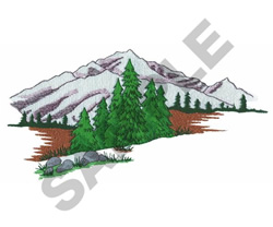 MOUNTAIN AND TREES embroidery design
