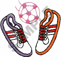 SOCCER BALL & SHOES embroidery design