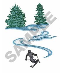 SKIER ON SLOPES embroidery design
