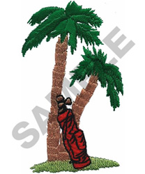 GOLF BAG & PALM TREES embroidery design