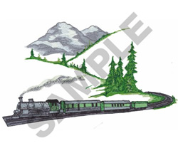 TRAIN AND MOUNTAINS embroidery design