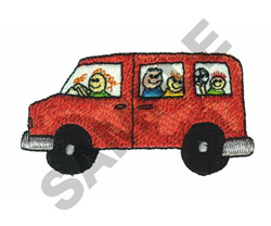 VAN WITH KIDS embroidery design