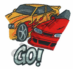 GO HOT WHEELS embroidery design