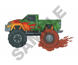 MONSTER TRUCK MUD PATCH embroidery design
