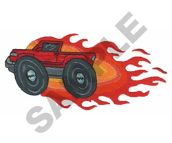 TRUCK IN FLAMES embroidery design