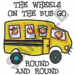 THE WHEELS ON THE BUS embroidery design