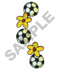 SOCCER BALL AND FLOWERS embroidery design