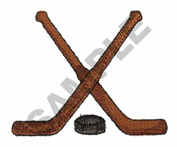 HOCKEY PUCK AND STICKS embroidery design