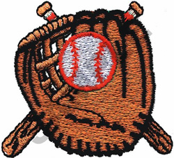 BASEBALL, BATS & GLOVE embroidery design