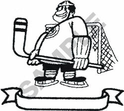 HOCKEY PLAYER W/ BANNER embroidery design