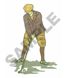 MAN PLAYING GOLF embroidery design
