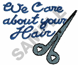 WE CARE ABOUT YOUR HAIR embroidery design