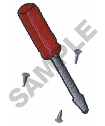 SCREWDRIVER AND SCREWS embroidery design