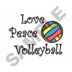 LOVE PEACE VOLLEYBALL embroidery design