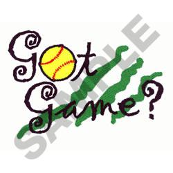 GOT GAME SOFTBALL embroidery design