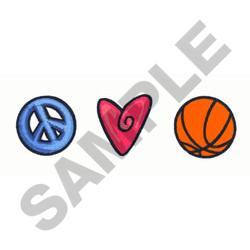 PEACE LOVE BASKETBALL embroidery design