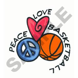 PEACE LOVE BASKETBALL embroidery design