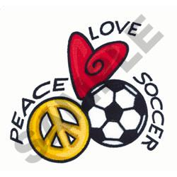 PEACE LOVE SOCCER embroidery design