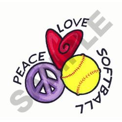 PEACE LOVE SOFTBALL embroidery design