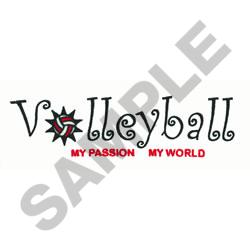 VOLLEYBALL MY PASSION embroidery design