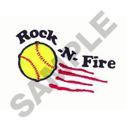 SOFTBALL ROCK AND FIRE embroidery design