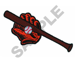 BASEBALL, BAT & GLOVE embroidery design