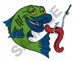 ANIMATED FISH AND WORM embroidery design