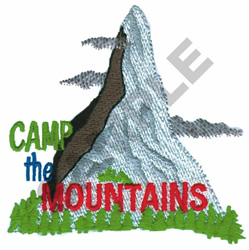 CAMP THE MOUNTAINS embroidery design
