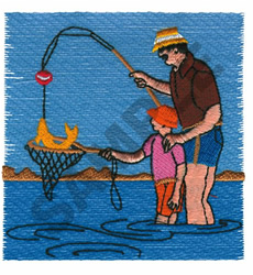FATHER AND SON FISHING embroidery design