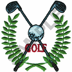 GOLF CREST AND LAUREL WREATH embroidery design