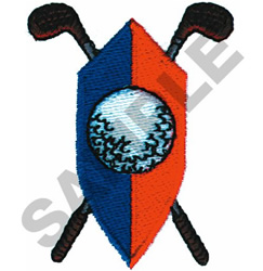 GOLF SHIELD W/CLUBS embroidery design