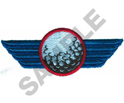 WINGED GOLF BALL embroidery design