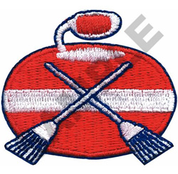 CURLING STONE & BROOMS embroidery design